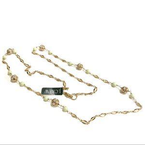 J Crew Long Green Bead Goldtone Beads Chrystal